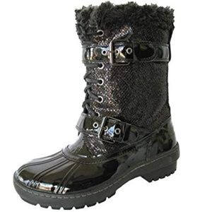 Sperry Alpine Glitter Black Patent Leather Boots
